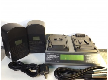 2 V-Mount batteries160W + 1 double fast simultaneous charger VP3-2BP160